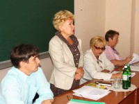 Виступ голови обласної організації Профспілки Тетяни Матвеєвої